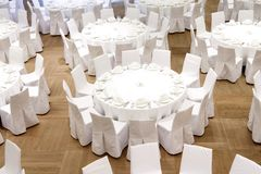 Beautifully organized event - served festive tables. Ready for guests Stock Photography