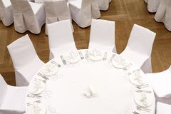 Beautifully organized event - served festive tables. Ready for guests Royalty Free Stock Photo