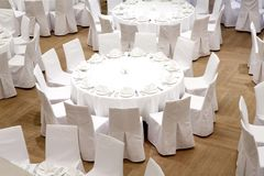 Beautifully organized event - served festive tables. Ready for guests Royalty Free Stock Images
