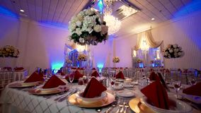 Beautifully organized event,wedding, table setting in red colors