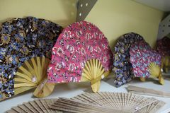 Beautiful patterned fans on the market in Thailand, Samui Island royalty free stock photography