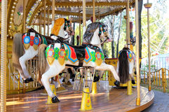 Beautifully painted colorful carousel horses Stock Images