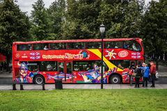 Beautifully painted double-Decker tour bus Royalty Free Stock Photography
