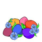 Beautifully colored eggs and festive tulips isolated on white. Yellow, orange and pink flowers with green leaves. stock illustration
