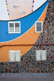 Beautifully painted facade fisherman house in Puerto de la Aldea, Gran Canaria Stock Images