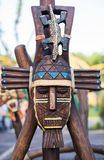 Beautifully painted Totem Pole in British Columbia stock photography