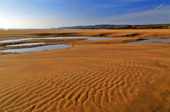 Beautifully patterened and water riven wet sand reflecting blue sky Stock Photos