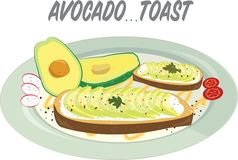The beautifully plated avocado toast with delicious looking toppings. royalty free illustration