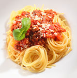 Beautifully presented spaghetti bolognaise Royalty Free Stock Images