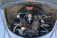Early Volkswagen Flat Four Aircooled Engine. A beautifully preserved early VW boxer engine. It belongs to an early oval window Beetle Stock Image