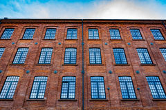 Beautifully renovated facade of an old textile factory Royalty Free Stock Photography