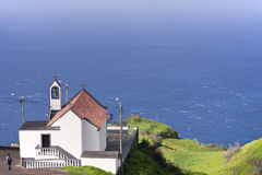 Beautifully restored church on the rocks of Madeira Stock Photo