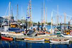 Beautifully restored classic boats. Gather in the Inner Harbour of the provincial capital. The 36th Annual Victoria Classic Boat Festival is the oldest and Stock Images