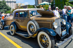 Beautifully restored 1932 Ford Deuce Coupe. With a trailer is one of more than 900 vintage cars on display during Northwest Deuce Days in Victoria, British Royalty Free Stock Photography