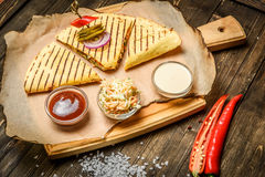 Beautifully served quesadilla Royalty Free Stock Images