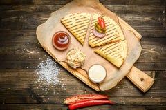 Beautifully served quesadilla Royalty Free Stock Image