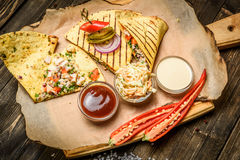 Beautifully served quesadilla Stock Images