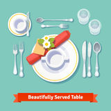 Beautifully served table. Formal dinner setting. Flat style vector illustration Stock Photography