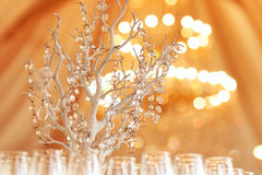 Beautifully served table in a restaurant yellow sunny day wedding glass Royalty Free Stock Image