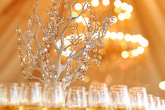 Beautifully served table in a restaurant yellow sunny day wedding glass Stock Image