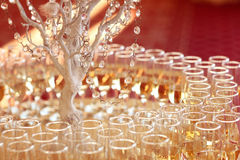 Beautifully served table in a restaurant yellow sunny day wedding glass Royalty Free Stock Photo
