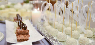 Beautifully served  table. Wedding or engamenent  reception Royalty Free Stock Image