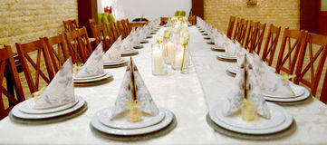 Beautifully served  table. Wedding or engamenent  reception Royalty Free Stock Photo