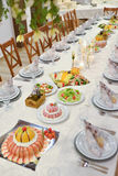 Beautifully served  table. Wedding or engamenent  reception Stock Photography