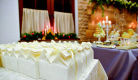 Beautifully served  table. Wedding or engamenent  reception.gift boxes Royalty Free Stock Photography