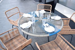 Beautifully set a outdoor restaurant table Royalty Free Stock Image