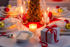 Beautifully set table for Christmas Eve Stock Image