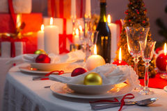 Beautifully setinng table for Christmas Eve Royalty Free Stock Image