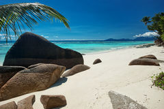 Beautifully shaped granite boulders laying on sandy beach Royalty Free Stock Images
