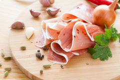 Beautifully sliced ham and lots of spices Royalty Free Stock Image