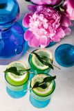 Three refreshing tequila cocktails on a marble surface. Beautifully styled tequila cocktails in vintage blue glassware on a marble table stock photography