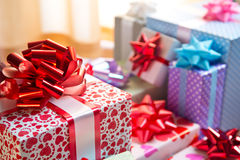 Beautifully wrapped gift boxes Royalty Free Stock Photos