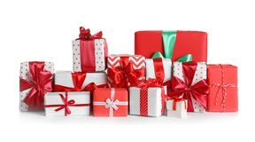 Beautifully wrapped gift boxes. On white background stock images