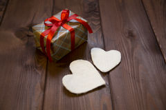 Beautifully wrapped holiday gift for a loved Stock Image