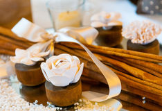 Wood roses. Beautifulst roses of wood perfumed and cinnamon sticks Stock Photo