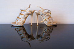 Bride shoes. Beautifulst shoe from bride on the table Royalty Free Stock Photo