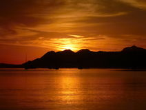 Beautifulu colorful sunrise at mallorca beach Royalty Free Stock Images