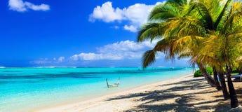 Beautifulwhite sandy beaches of Mauritius island. Stock Photo