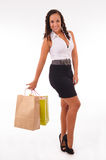 Beautifulwoman with two shopping bags Royalty Free Stock Photos