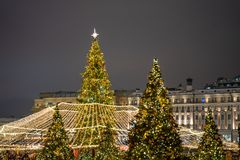 Beautifuly decorated Christmas tree in the city at night.  stock photography