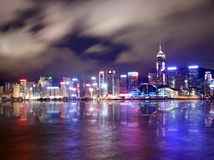 Beautifuly lit skyscrapers in Hong Kong Stock Image