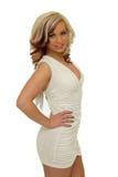 BeautifulYoung woman wearing white dress stock photo