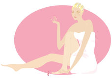 Beautify body. Lady beautifying herself vector illustration