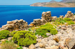 Beautify coast and quiet sea bay of Greek costline Royalty Free Stock Image