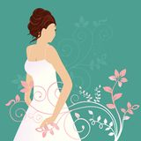 Beautiiful bride with diamond ring. Beautiiful bride ( or grad) with diamond ring and curvy flourish vector illustration