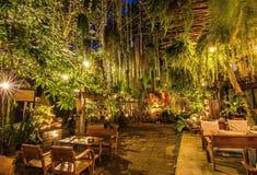 Beautilful garden in Chiang Mai. Thailand. Night view stock photos
